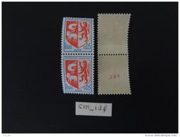 FRANCE 1966 0,05 F ARMOIRIES AUCH ROUGE PAIRE ROULETTE AVEC ET SANS NUMERO AU VERSO - Rollen