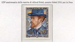 PIA - AUS - 1989 : 125° Anniversario Della Nascita Del Premio Nobel Per La Pace Alfred Fried  -  (Yv 1805) - 1981-90 Nuovi & Linguelle