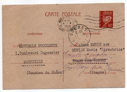 Entier Postal--CP Pétain 80c -1941-Marseille Pour Thaon Les Vosges-88 Réexpédié Sur Golbey-88--cachets - Entiers Postaux