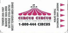 Circus Circus Casino - Las Vegas, NV - Narrow Hotel Room Key Card - No Mfg Mark - Hotel Keycards