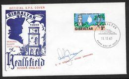 Gibraltar - 1967 General Eliott Illustrated FDC Signed By Artist A.G.Ryman - Gibraltar