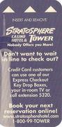 Stratosphere Tower Casino - Las Vegas, NV - Narrow Hotel Room Key Card - Hotel Keycards