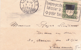 PRO JUVENTUTE : No J 22 Sur Petite Lettre 10,3 X 6,5 Cms., Oblitérée Lausanne 11 Le 1.I.23 - Briefe U. Dokumente