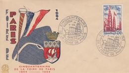 Enveloppe  FDC  1er  Jour    Oblitération  Grand  Format   Cinquantenaire   FOIRE  DE   PARIS    1954 - 1950-1959