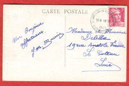71 Saône Et Loire Saint Christophe En Brionnais Oblitération Manuelle Rotoplan 1947 Timbre Gandon 3 F  Tarif CP - Manual Postmarks