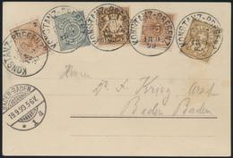 Ansichtskarte Litho Bodensee Mit 5 Verschied. Länderfrankaturen 18.9.1899 - Deutschland