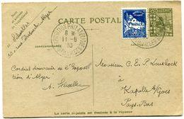 ALGERIE ENTIER POSTAL AVEC COMPLEMENT D'AFFRANCHISSEMENT DEPART EXPO. PHIL. INTle D'ALGER 11-5-30 POUR LES PAYS-BAS - Cartas