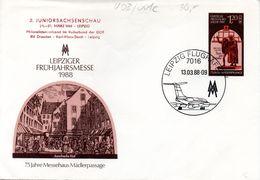 """DDR Privatganzs.-Umschlag  PU  U08/001-c, """"Leipz. Frühjahrsmesse 1988 M. ZD 2.Juniorensachsenschau"""", SSt 13.3.88 LEIPZIG - [6] Democratic Republic"""