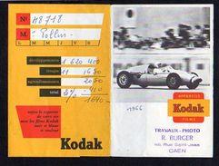 Publicité / 1966 Pochette Photos Kodak / Travaux Photo R. Burger Rue St Jean à Caen / Automobile Sport F1 - Bookmarks
