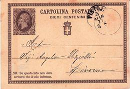 Carte Postale Pistoia Italie 1877 Cartolina Postale  Livorno Livourne - 1861-78 Victor Emmanuel II.