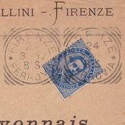 Lettre Firenze Italie 1892 Francesco Pestellini Firenze Italia Florence Crédit Lyonnais Banque Nîmes Gard Bank - 1878-00 Humbert I