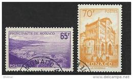 """Monaco YT 487 & 488 """" Vues De La Principauté """" 1957 Oblitéré - Used Stamps"""