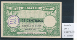 VENEZUELA  - Type II  , 25 CENTIMOS -  COUPON-RESPUESTA AMERICOESPANOL , Reply Coupon Reponse , UPAE , PUAS - Venezuela