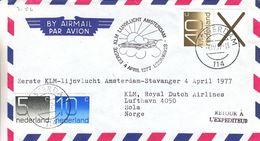 Pays Bas - Lettre De 1977 - 1er Vol Amsterdam Stavanger - Cachet De Stavanger - Timbres Du Carnet - Period 1949-1980 (Juliana)