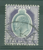 Malta: 1903/04   Edward  SG44    1/-    Used - Malta (...-1964)