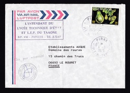 French Polynesia: Airmail Cover Pirae To France, 1979, 1 Stamp, Fruit, Avocado (traces Of Use) - Brieven En Documenten