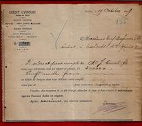 Courrier Crédit Lyonnais Orléans 19-10-1899 Pour Béguerie Tardets - Ordre Et Compte Canal Fils - 1800 – 1899