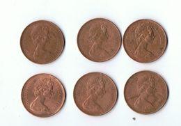 GRANDE BRETAGNE - LOT 6 PIECES 2 NEW PENCE ELISABETH  I I 1971 Et 1977 - 1971-… : Monete Decimali