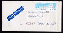 France: Priority Cover Hombourg-Haut To Germany, 2000, ATM Machine Label, Dual Currency, Birds (traces Of Use) - France