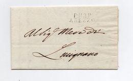 !!! PRIX FIXE : DEPT CONQUIS, 112 ARNO, MARQUE POSTALE PORT PAYE D'AREZZO SUR LETTRE DE 1814 DU PROCUREUR - Postmark Collection (Covers)