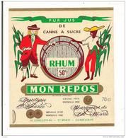 Etiquette  RHUM Pur Jus Canne à Sucre - Mon Repos  LONGUETEAU 50° - Marquisat Ste Marie - GUADELOUPE  Médaille Or 1922 - Rhum