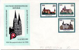 """DDR Privatganzs.-Umschlag  PU U02/003-a """"Burgen Und Schlösser M.ZD Zur PHILATELIA'85 KÖLN """" Ungebraucht - [6] Oost-Duitsland"""
