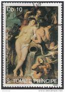 """968 S. Tomè E Principe 1990 """" Unione Della Terra Con L ' Acqua  """" Quadro Dipinto Da Rubens Preobliterato Painting - Nudes"""
