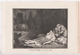 A C1800 Book Plate Depicting Two Women Suffering From The 1665 Plague.  Ref 0451 - Prints & Engravings