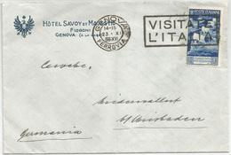 """AUGUSTO L. 1,25 Isolato Su Lettera Per La Germania. Sass. 423. Targhetta Meccanica """"VISITATE L'ITALIA - Storia Postale"""