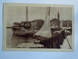ROVIGNO ISTRIA Vecchia Cartolina Porto Reti Pesca Barche Pescatori - Kroatien