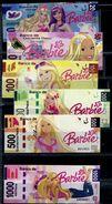 """""""Barbie"""" Spielgeld Set, Play Money, 6 Pces.,135 X 54 Mm,  Beidseitiger Druck, UNC - Banknoten"""