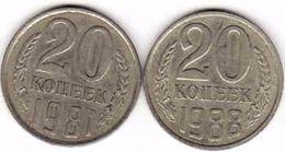 Russia, 2 X 20 Copeck - Kopejka 1981 + 1988 - Russland
