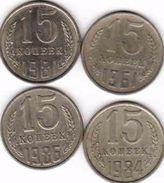 Russia, 4 X 15 Copeck - Kopejka  1962 + 1981 + 1984 + 1986 - Russland