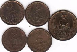 Russia, 4 X 2 Copeck - Kopejka  1967 + 1970 + 1983 + 1985 + 3 Copeck 1989 - Russia