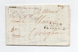 !!! PRIX FIXE : DEPT CONQUIS, 112 ARNO, MARQUE POSTALE PP DE FLORENCE / LETTRE DE LA REGIE DES SELS ET TABACS DE 1810 - Postmark Collection (Covers)