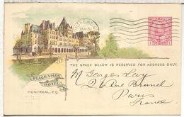 CANADA ENTERO POSTAL PLACE VIGER HOTEL  DE CANADIAN PACIFIC RAILWAY 1913 A FRANCIA - Trains