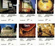 Lot De 6 Tickets D'entrée à L'Opéra Garnier, Paris 30/03/2001 (tous Différents) - Biglietti D'ingresso