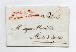!!! PRIX FIXE : DEPT CONQUIS, 112 ARNO, MARQUE POSTALE DE FLORENCE SUR LETTRE DU DIRECTEUR DE LA POLICE DE 1812 - Postmark Collection (Covers)