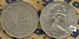 FIJI 50 CENTS INDIA WORKERS SUGAR FRONT QEII HEAD BACK 1979 1ST PORTRAIT KM? UNC READ DESCRIPTION CAREFULLY !!! - Figi