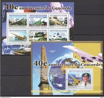 H202 2009 DE GUINEE AVIATION 40E ANNIVERSAIRE DU CONCORDE 1KB+1BL MNH - Concorde
