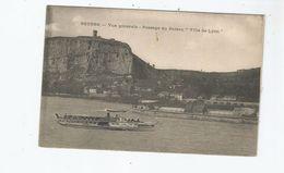 """SOYONS (ARDECHE) VUE GENERALE PASSAGE DU BATEAU """"VILLE DE LYON"""" 1915 - France"""