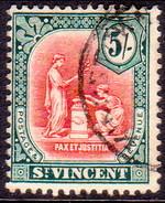 ST.VINCENT 1913 SG #119 5sh Used Wmk Crown CA CV £60 - St.Vincent (...-1979)