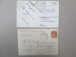 2 Cartes Postales Cachet ; Croiseur Lamotte ; Et Cuirasse Lorraine - Marcophilie (Lettres)