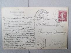 CARTE POSTALE AVEC CACHET CUIRSSE VOLTAIRE 1926  RARE - Marcophilie (Lettres)