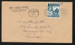 MALTA  Scott #257 On 1961 AIRMAIL COVER To CANADA (23/MAY/1961) - Malta (...-1964)