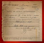 Courrier Espagne Caminos De Hierro Del Norte Hendaye 10-07-1897 - Nota De Sumas Satisfechas - Espagne