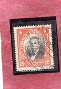 CILE CHILE 1911 MANUEL BULNES CENT. 20 USATO USED OBLITERE - Chile