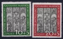 Bundespost: Mi Nr 139 - 140 Not Used (*) SG   Marienkirche-Luebeck - BRD