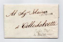 !!! PRIX FIXE: DEPT CONQUIS, 113 , MARQUE POSTALE DE LIVOURNE / LETTRE CACHET LINEAIRE PREFET DPT DE LA MEDITERRANEE - Postmark Collection (Covers)
