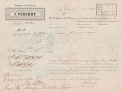 Roulage Vincent Tannerie & Corroierie De Nantes 1860 Transport 2 Paniers De Cuir Pour Le Perthus 66 Fiscal Dos - Transport